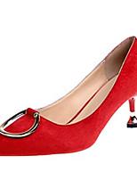Недорогие -Жен. Полиуретан Весна Обувь на каблуках На шпильке Заостренный носок Черный / Красный
