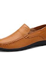 Недорогие -Муж. Кожаные ботинки Кожа Весна & осень На каждый день / Английский Мокасины и Свитер Нескользкий Черный / Желтый / Коричневый