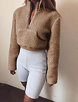 Недорогие -женская толстовка с длинным рукавом - однотонная подставка цвета хаки с
