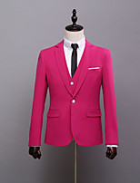 abordables -Couleur Pleine Coupe Sur-Mesure Polyester Costume - Cranté Droit 1 bouton