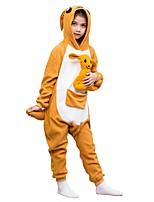 baratos -Pijamas Kigurumi Canguru Pijamas Macacão Lã Polar Amarelo Cosplay Para Meninos e meninas Pijamas Animais desenho animado Festival / Celebração Fantasias
