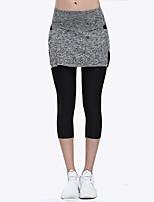 abordables -LINEBREAK Femme Double couche Pantalon de yoga - Noir, Gris Des sports Couleur unie Corsaire Course / Running, Fitness, Faire des exercices Tenues de Sport Séchage rapide, Anti-transpiration, Power