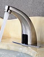 abordables -Robinet lavabo - Séparé / A détecteur Acier brossé Sur Pied Mains libres un trouBath Taps / Laiton