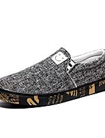 Недорогие -Муж. Комфортная обувь Полотно / Лён Зима На каждый день Мокасины и Свитер Нескользкий Контрастных цветов Черный / Бежевый / Серый