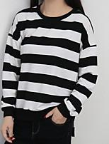 Недорогие -женская толстовка с капюшоном с капюшоном - полосатый шею черный м