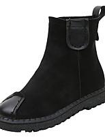 Недорогие -Жен. Полиуретан Зима На каждый день Ботинки На плоской подошве Круглый носок Сапоги до середины икры Черный