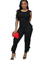 Недорогие -Жен. Повседневные Уличный стиль Черный Комбинезоны, Однотонный M L XL Без рукавов