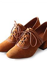 Недорогие -Жен. Овчина / Микроволокно Наступила зима Милая / Минимализм Обувь на каблуках На толстом каблуке Квадратный носок Черный / Коричневый / Телесный