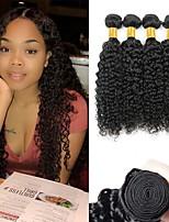 Недорогие -4 Связки Бразильские волосы Индийские волосы Kinky Curly человеческие волосы Remy Необработанные натуральные волосы Человека ткет Волосы Сувениры для чаепития Уход за волосами 8-28 дюймовый