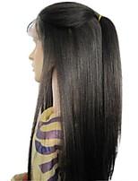 Недорогие -человеческие волосы Remy 4x4 Закрытие Лента спереди Парик Бразильские волосы Вытянутые Черный Парик Стрижка каскад 130% Плотность волос / Шелковые базовые волосы / Природные волосы / Необработанные