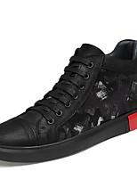 Недорогие -Муж. Кожаные ботинки Полотно / Наппа Leather Наступила зима Классика / На каждый день Кеды Сохраняет тепло Черный