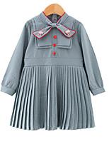 Недорогие -Дети Девочки Милая Повседневные Однотонный Бант Длинный рукав До колена Полиэстер Платье Синий