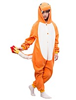 abordables -Pyjamas Kigurumi Dinosaure Combinaison de Pyjamas Polaire Orange Cosplay Pour Garçons et filles Pyjamas Animale Dessin animé Fête / Célébration Les costumes