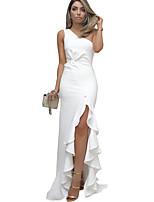 Недорогие -Женская вечеринка Асимметричное платье-футляр на одно плечо Белый Красный Черный S M L XL