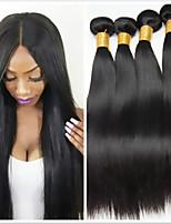 Недорогие -4 Связки Бразильские волосы Индийские волосы Прямой Не подвергавшиеся окрашиванию человеческие волосы Remy Подарки Косплей Костюмы Человека ткет Волосы 8-28 дюймовый Естественный цвет