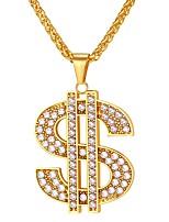 Недорогие -Муж. Цирконий Ожерелья с подвесками - Нержавеющая сталь долларов Мода Золотой, Черный, Серебряный 21.6535 дюймовый Ожерелье Бижутерия 1шт Назначение Подарок, Повседневные