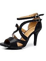 abordables -Femme Chaussures Latines Polyuréthane Sandale / Talon Boucle Talon Bobine Personnalisables Chaussures de danse Noir