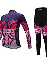 abordables -TELEYI Manches Longues Maillot et Cuissard Long de Cyclisme - Rouge de Rose Vélo Respirable, Hiver Impression réactive / Elastique