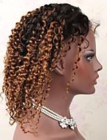 Недорогие -Не подвергавшиеся окрашиванию человеческие волосы Remy Лента спереди Парик Бразильские волосы Глубокий курчавый Парик Стрижка каскад Средняя часть Боковая часть 130% Плотность волос