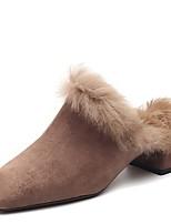 Недорогие -Жен. Замша / Искусственный мех Наступила зима Обувь на каблуках На толстом каблуке Квадратный носок Черный / Коричневый / Хаки