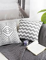abordables -1 pcs Coton / Lin Taie d'oreiller / Housse de coussin, Damas / Motif / Géométrique Forme carrée / Moderne