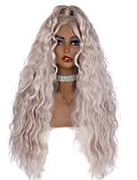 Недорогие -Синтетические кружевные передние парики Жен. Волнистый / Естественные волны Темно-серый Свободная часть 180% Человека Плотность волос Искусственные волосы 24-26 дюймовый / Лента спереди