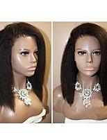 Недорогие -Натуральные волосы Лента спереди Парик Бразильские волосы Вытянутые Черный Парик Стрижка боб Короткий Боб 130% Плотность волос с детскими волосами Природные волосы Для темнокожих женщин 100