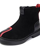 Недорогие -Девочки Обувь Кожа Наступила зима Модная обувь Ботинки Молнии для Дети / Для подростков Черный / Красный