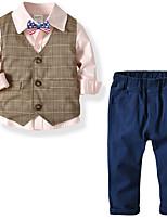 Недорогие -Дети Мальчики Классический Однотонный Длинный рукав Обычная Полиэстер Набор одежды Белый