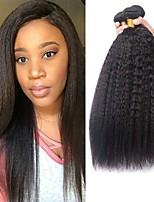 Недорогие -4 Связки Бразильские волосы Естественные прямые Натуральные волосы Wig Accessories / Подарки / Человека ткет Волосы 8-28 дюймовый Естественный цвет Ткет человеческих волос Машинное плетение