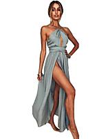abordables -Robe de Soirée Licou Longueur Sol Mousseline de soie Soirée Formel Robe avec Avant Fendu par LAN TING Express