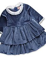 Недорогие -Дети Девочки Классический Однотонный Длинный рукав Платье Темно синий