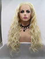 Недорогие -Синтетические кружевные передние парики Жен. Кудрявый Золотистый Стрижка каскад 130% Человека Плотность волос Искусственные волосы 24 дюймовый Женский Золотистый Парик Длинные Лента спереди