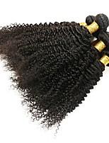 Недорогие -6 Связок Бразильские волосы Kinky Curly Натуральные волосы Необработанные натуральные волосы Головные уборы Человека ткет Волосы Сувениры для чаепития 8-28 дюймовый Естественный цвет
