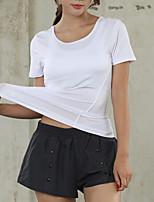 Недорогие -женская спортивная тонкая футболка - однотонная шея