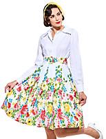 Недорогие -Одри Хепберн Ретро 1950-е года В стиле 1960-х Оса-Waisted Костюм Жен. Платья Белый Винтаж Косплей Полиэстер Длинный рукав Широкий, стянутый у запястья V-образный вырез Короткий