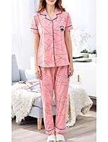 abordables -Col de Chemise Costumes Pyjamas Femme Rayé