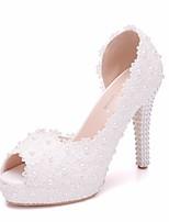 baratos -Mulheres Renda / Couro Ecológico Primavera Verão Doce Sapatos De Casamento Plataforma Peep Toe Pérolas Sintéticas / Flor de Cetim Branco