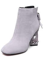 Недорогие -Жен. Замша Осень Ботинки На толстом каблуке Закрытый мыс Ботинки Черный / Светло-серый