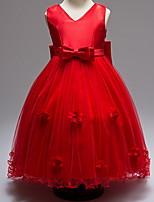 Недорогие -Дети Девочки Классический Однотонный Без рукавов Платье Красный