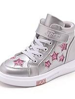 Недорогие -Девочки Обувь Кожа Зима Удобная обувь Кеды для Для подростков Белый / Черный / Серебряный