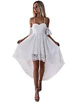 Недорогие -Жен. Элегантный стиль С летящей юбкой Платье - Однотонный, Кружева Макси