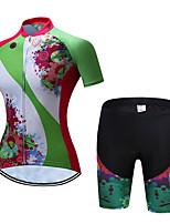 baratos -TELEYI Manga Curta Camisa com Shorts para Ciclismo - Verde Moto Respirável, Secagem Rápida Floral / Botânico / Com Stretch