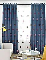 Недорогие -Шторы занавески затемнения Спальня Мультипликация Полиэфирно-льняная смешанная ткань Вышивка