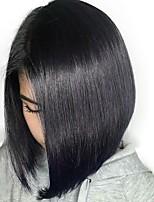 Недорогие -человеческие волосы Remy 6x13 Тип замка Парик Бразильские волосы Естественный прямой Парик Стрижка боб 130% Плотность волос Женский Натуральный Удобный Боб с прямым пробором 100% девственница