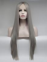 Недорогие -Синтетические кружевные передние парики Жен. Прямой Темно-серый Свободная часть 180% Человека Плотность волос Искусственные волосы 18-26 дюймовый Регулируется / Кружева / Жаропрочная Темно-серый Парик