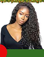 Недорогие -кудрявые вьющиеся кружева перед парики человеческих волос с волосами младенца для женщин бразильские реми человеческие волосы 130% -180%