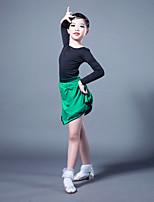 Недорогие -Латино Инвентарь Девочки Выступление Молочное волокно / Ice Silk (искусственное волокно) Комбинация материалов Длинный рукав Юбки / Кофты