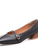 abordables -Femme Polyuréthane Printemps & Automne Chaussures à Talons Talon Bottier Bout carré Boucle Noir / Beige / Rose