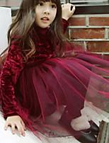 Недорогие -Дети Девочки Классический Однотонный Длинный рукав Платье Бежевый